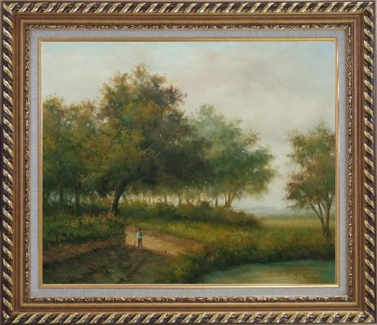 Framed In front of the Pond Oil Painting Landscape Naturalism Exquisite Gold Wood Frame 26 x 30 Inches