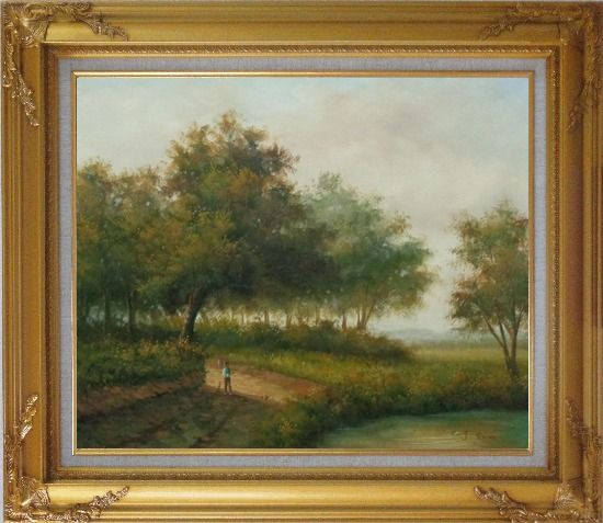 Framed In front of the Pond Oil Painting Landscape Naturalism Gold Wood Frame with Deco Corners 27 x 31 Inches