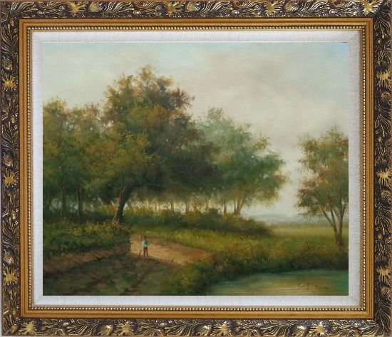 Framed In front of the Pond Oil Painting Landscape Naturalism Ornate Antique Dark Gold Wood Frame 26 x 30 Inches