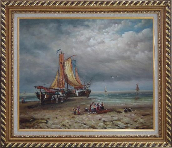 Framed Commerce Ships On Beach Oil Painting Boat Classic Exquisite Gold Wood Frame 26 x 30 Inches