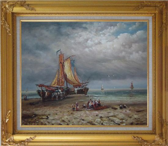 Framed Commerce Ships On Beach Oil Painting Boat Classic Gold Wood Frame with Deco Corners 27 x 31 Inches