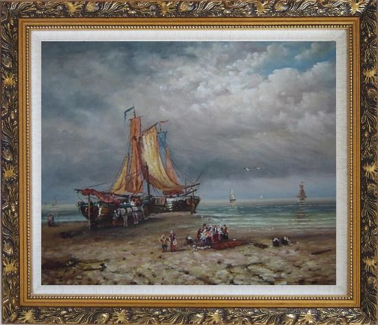 Framed Commerce Ships On Beach Oil Painting Boat Classic Ornate Antique Dark Gold Wood Frame 26 x 30 Inches