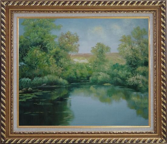 Framed Green Pond with Water Plants and Reflaction Oil Painting Landscape River Naturalism Exquisite Gold Wood Frame 26 x 30 Inches