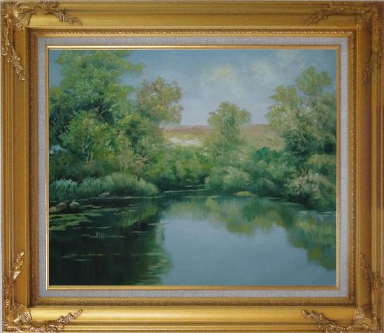 Framed Green Pond with Water Plants and Reflaction Oil Painting Landscape River Naturalism Gold Wood Frame with Deco Corners 27 x 31 Inches