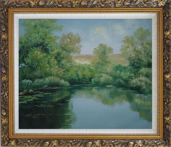 Framed Green Pond with Water Plants and Reflaction Oil Painting Landscape River Naturalism Ornate Antique Dark Gold Wood Frame 26 x 30 Inches