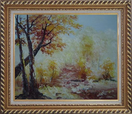 Framed Yellow Trees Under Strong Sunlight Oil Painting Landscape Impressionism Exquisite Gold Wood Frame 26 x 30 Inches
