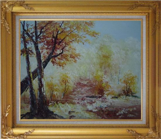 Framed Yellow Trees Under Strong Sunlight Oil Painting Landscape Impressionism Gold Wood Frame with Deco Corners 27 x 31 Inches