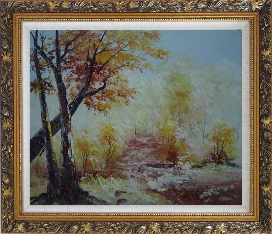 Framed Yellow Trees Under Strong Sunlight Oil Painting Landscape Impressionism Ornate Antique Dark Gold Wood Frame 26 x 30 Inches