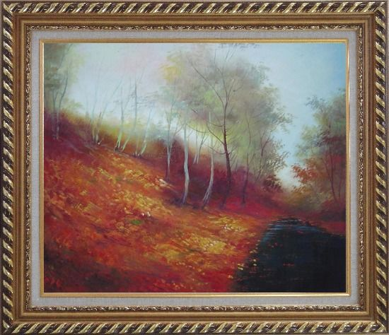 Framed Water Stream in a Ditch Full of Red Foliage Oil Painting Landscape River Naturalism Exquisite Gold Wood Frame 26 x 30 Inches
