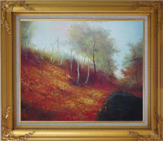 Framed Water Stream in a Ditch Full of Red Foliage Oil Painting Landscape River Naturalism Gold Wood Frame with Deco Corners 27 x 31 Inches