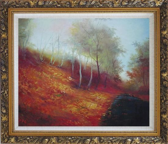 Framed Water Stream in a Ditch Full of Red Foliage Oil Painting Landscape River Naturalism Ornate Antique Dark Gold Wood Frame 26 x 30 Inches