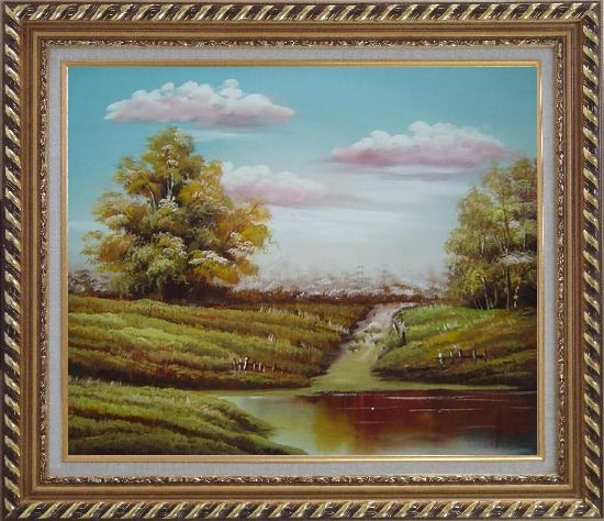 Framed Autumn's Majesty Oil Painting Landscape Naturalism Exquisite Gold Wood Frame 26 x 30 Inches