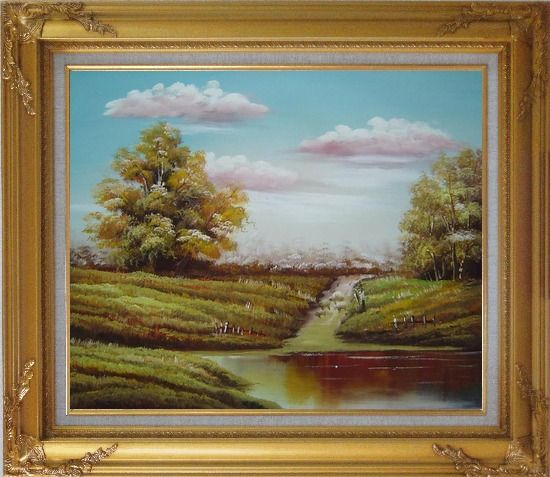 Framed Autumn's Majesty Oil Painting Landscape Naturalism Gold Wood Frame with Deco Corners 27 x 31 Inches
