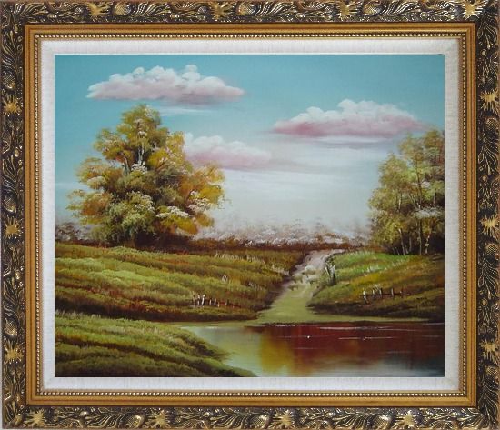 Framed Autumn's Majesty Oil Painting Landscape Naturalism Ornate Antique Dark Gold Wood Frame 26 x 30 Inches