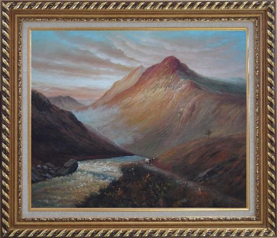 Framed Water Weir Under Giant Mountain Oil Painting Landscape Classic Exquisite Gold Wood Frame 26 x 30 Inches