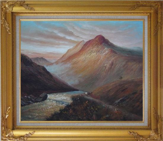 Framed Water Weir Under Giant Mountain Oil Painting Landscape Classic Gold Wood Frame with Deco Corners 27 x 31 Inches