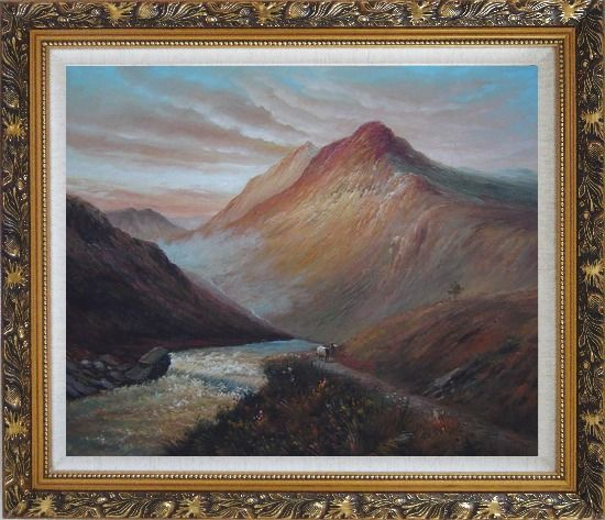Framed Water Weir Under Giant Mountain Oil Painting Landscape Classic Ornate Antique Dark Gold Wood Frame 26 x 30 Inches
