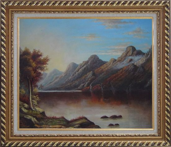 Framed Lake with Trees and Mountains in Autumn Oil Painting Landscape Classic Exquisite Gold Wood Frame 26 x 30 Inches