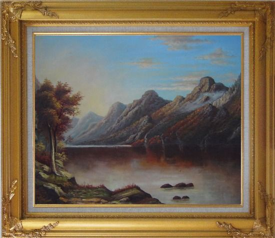Framed Lake with Trees and Mountains in Autumn Oil Painting Landscape Classic Gold Wood Frame with Deco Corners 27 x 31 Inches