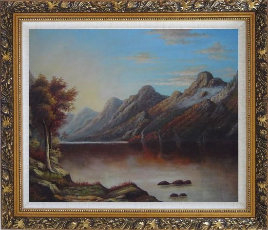 Framed Lake with Trees and Mountains in Autumn Oil Painting Landscape Classic Ornate Antique Dark Gold Wood Frame 26 x 30 Inches