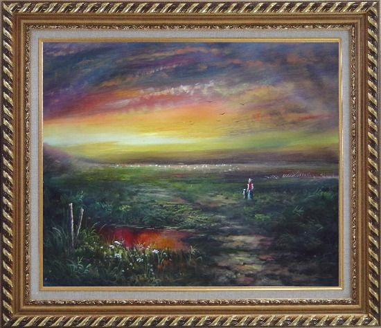 Framed Walk In the Wild Oil Painting Landscape Classic Exquisite Gold Wood Frame 26 x 30 Inches