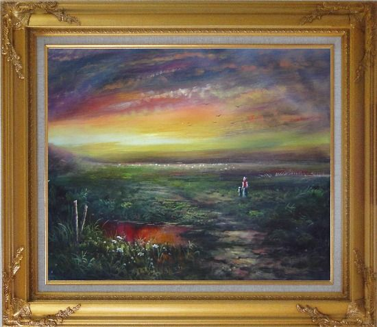 Framed Walk In the Wild Oil Painting Landscape Classic Gold Wood Frame with Deco Corners 27 x 31 Inches