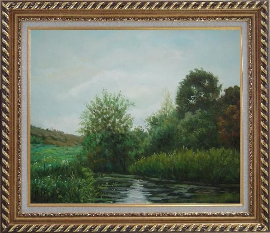 Framed A Green Pond Covered with Lotus, Weeds and Floating Plants Oil Painting Landscape River Classic Exquisite Gold Wood Frame 26 x 30 Inches