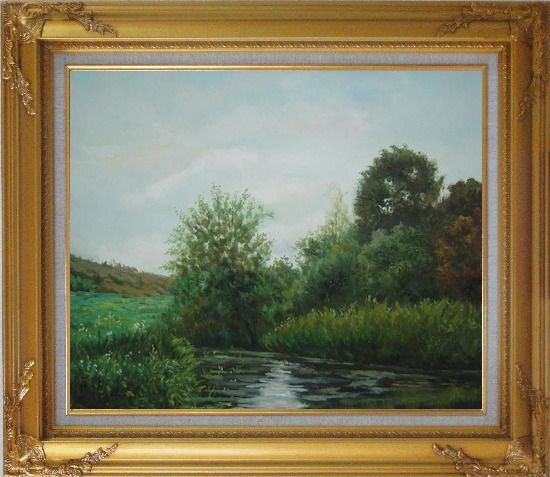 Framed A Green Pond Covered with Lotus, Weeds and Floating Plants Oil Painting Landscape River Classic Gold Wood Frame with Deco Corners 27 x 31 Inches