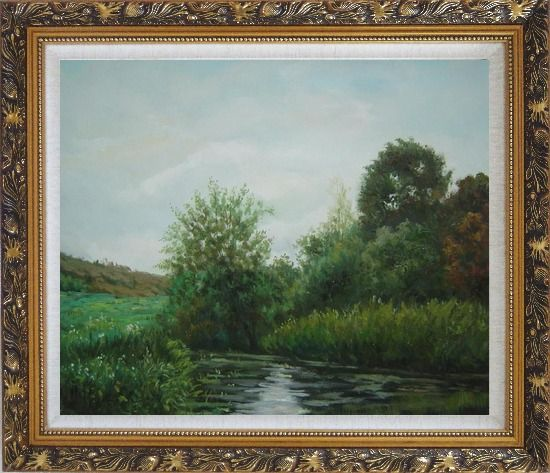 Framed A Green Pond Covered with Lotus, Weeds and Floating Plants Oil Painting Landscape River Classic Ornate Antique Dark Gold Wood Frame 26 x 30 Inches