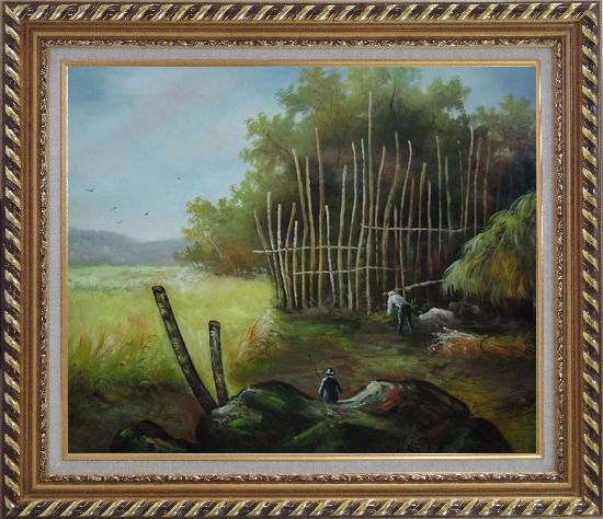 Framed Backyard of a Farm Oil Painting Garden Classic Exquisite Gold Wood Frame 26 x 30 Inches