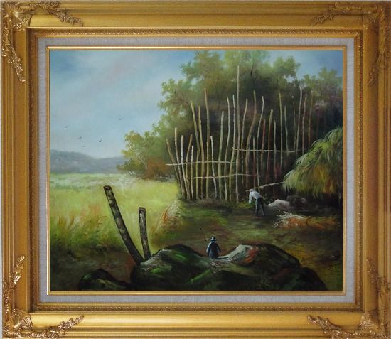 Framed Backyard of a Farm Oil Painting Garden Classic Gold Wood Frame with Deco Corners 27 x 31 Inches