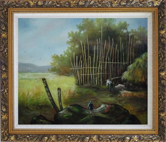 Framed Backyard of a Farm Oil Painting Garden Classic Ornate Antique Dark Gold Wood Frame 26 x 30 Inches