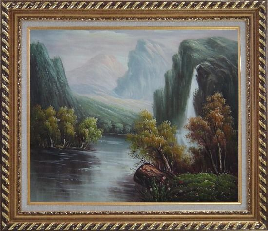 Framed Mountain Area Waterfall Rush Down to River Oil Painting Landscape Classic Exquisite Gold Wood Frame 26 x 30 Inches