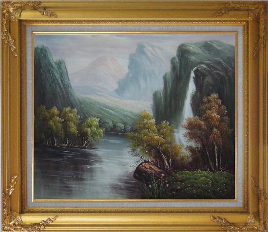 Framed Mountain Area Waterfall Rush Down to River Oil Painting Landscape Classic Gold Wood Frame with Deco Corners 27 x 31 Inches