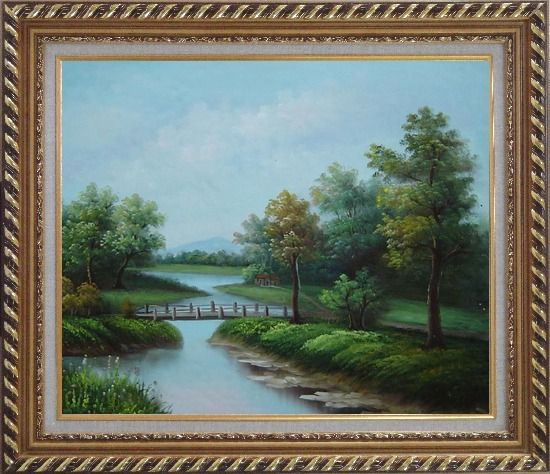 Framed Wood Bridge Over a Scenic River Oil Painting Landscape Classic Exquisite Gold Wood Frame 26 x 30 Inches