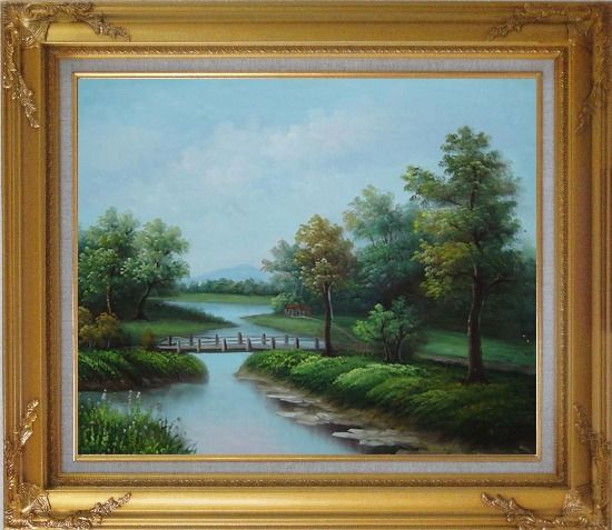 Framed Wood Bridge Over a Scenic River Oil Painting Landscape Classic Gold Wood Frame with Deco Corners 27 x 31 Inches