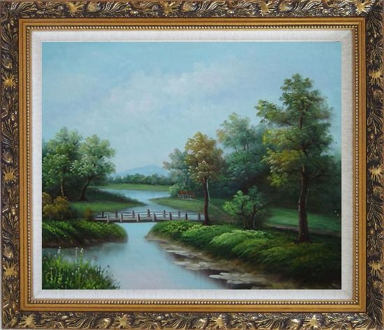 Framed Wood Bridge Over a Scenic River Oil Painting Landscape Classic Ornate Antique Dark Gold Wood Frame 26 x 30 Inches