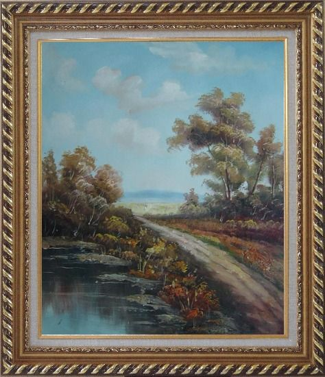 Framed Country Road, Take Me Home Oil Painting Landscape River Classic Exquisite Gold Wood Frame 30 x 26 Inches