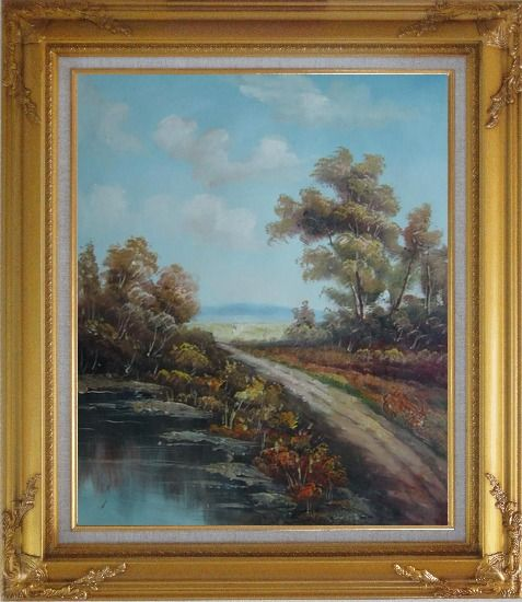 Framed Country Road, Take Me Home Oil Painting Landscape River Classic Gold Wood Frame with Deco Corners 31 x 27 Inches
