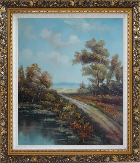 Framed Country Road, Take Me Home Oil Painting Landscape River Classic Ornate Antique Dark Gold Wood Frame 30 x 26 Inches