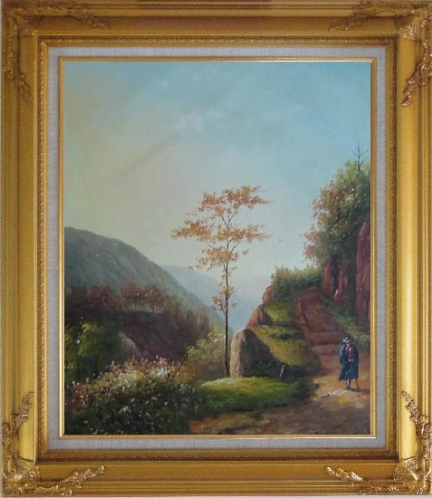 Framed Down the Slope Oil Painting Village Classic Gold Wood Frame with Deco Corners 31 x 27 Inches