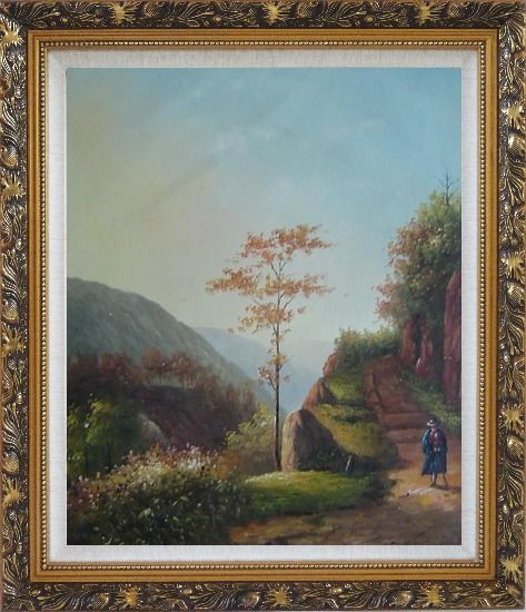 Framed Down the Slope Oil Painting Village Classic Ornate Antique Dark Gold Wood Frame 30 x 26 Inches