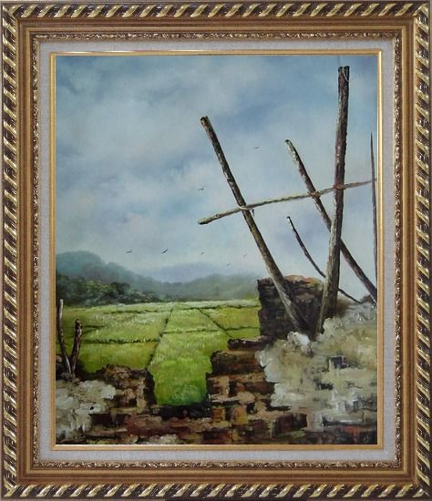 Framed Old Broken Wall in a Farm Field Oil Painting Village Classic Exquisite Gold Wood Frame 30 x 26 Inches
