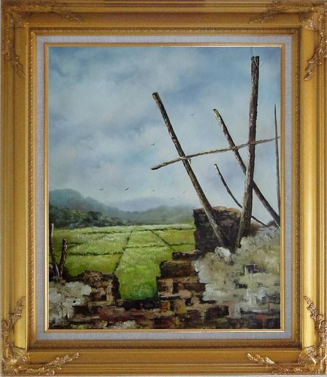 Framed Old Broken Wall in a Farm Field Oil Painting Village Classic Gold Wood Frame with Deco Corners 31 x 27 Inches