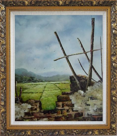 Framed Old Broken Wall in a Farm Field Oil Painting Village Classic Ornate Antique Dark Gold Wood Frame 30 x 26 Inches