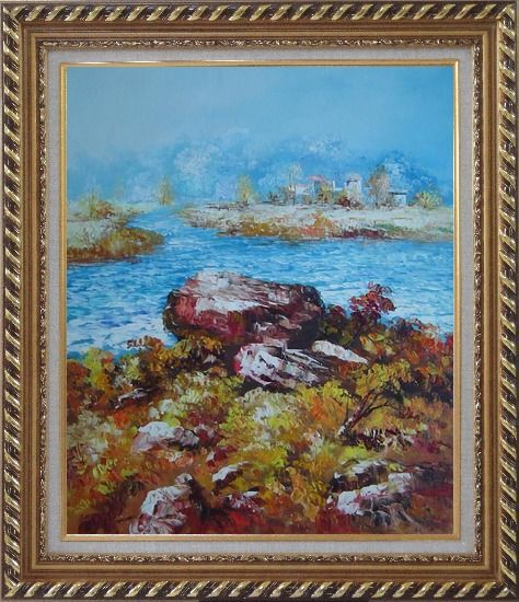 Framed Limpid Water In Autumn Oil Painting Seascape Impressionism Exquisite Gold Wood Frame 30 x 26 Inches