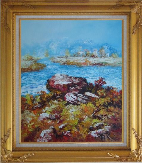Framed Limpid Water In Autumn Oil Painting Seascape Impressionism Gold Wood Frame with Deco Corners 31 x 27 Inches
