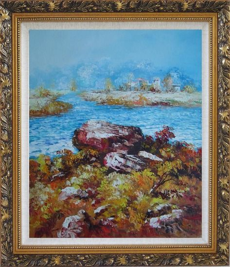 Framed Limpid Water In Autumn Oil Painting Seascape Impressionism Ornate Antique Dark Gold Wood Frame 30 x 26 Inches