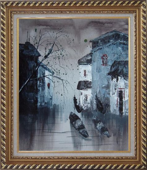 Framed Bamboo Boats Make Way Through Water Town Oil Painting Village China Asian Exquisite Gold Wood Frame 30 x 26 Inches