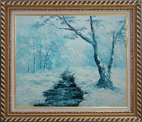 Framed Ground Frozen in Winter Falling White Snow Oil Painting Landscape River Naturalism Exquisite Gold Wood Frame 26 x 30 Inches
